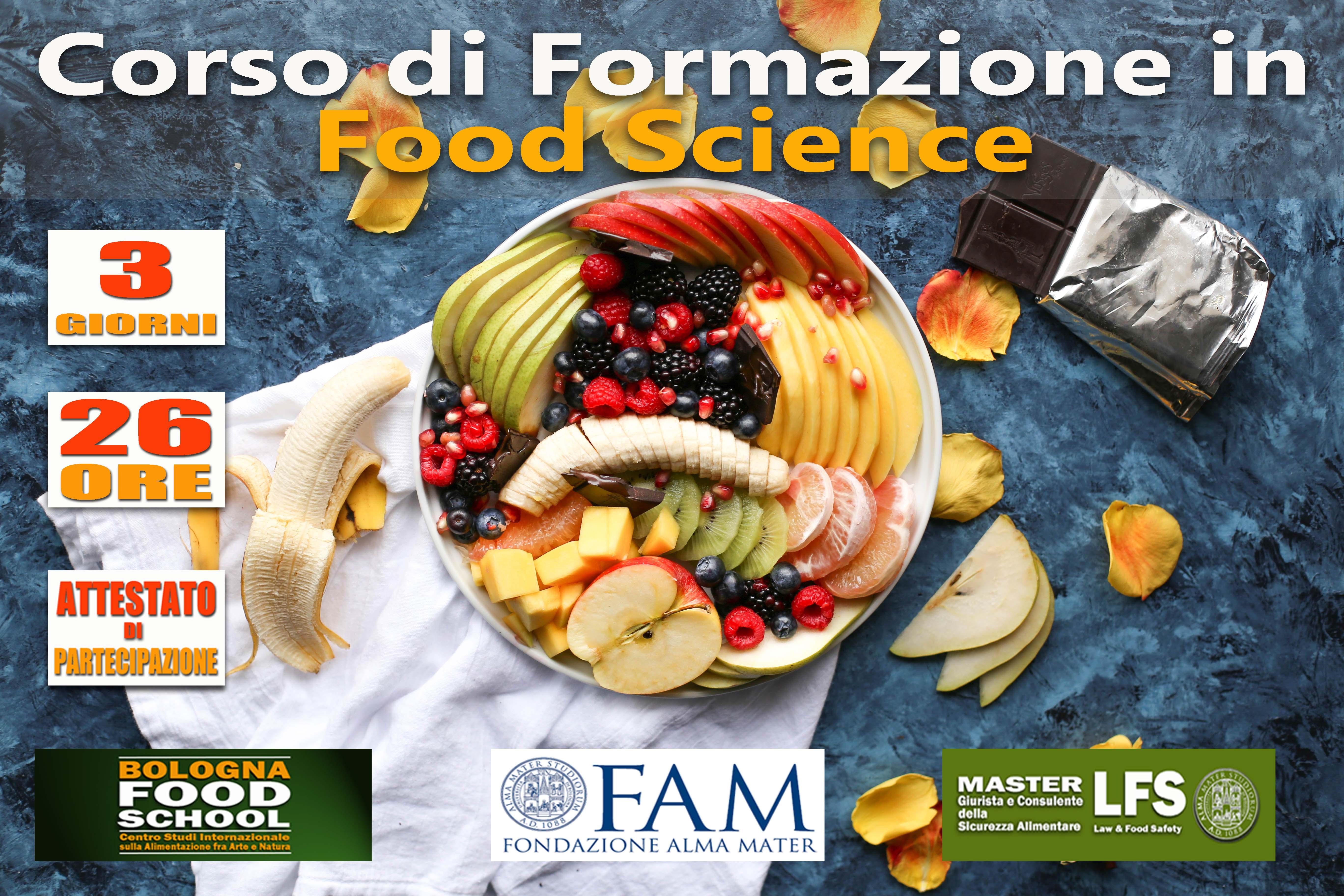 CORSO DI FORMAZIONE IN FOOD SCIENCE - ATTIVITA' INTEGRATIVA DEL MASTER - 15-16-17 GIUGNO 2018