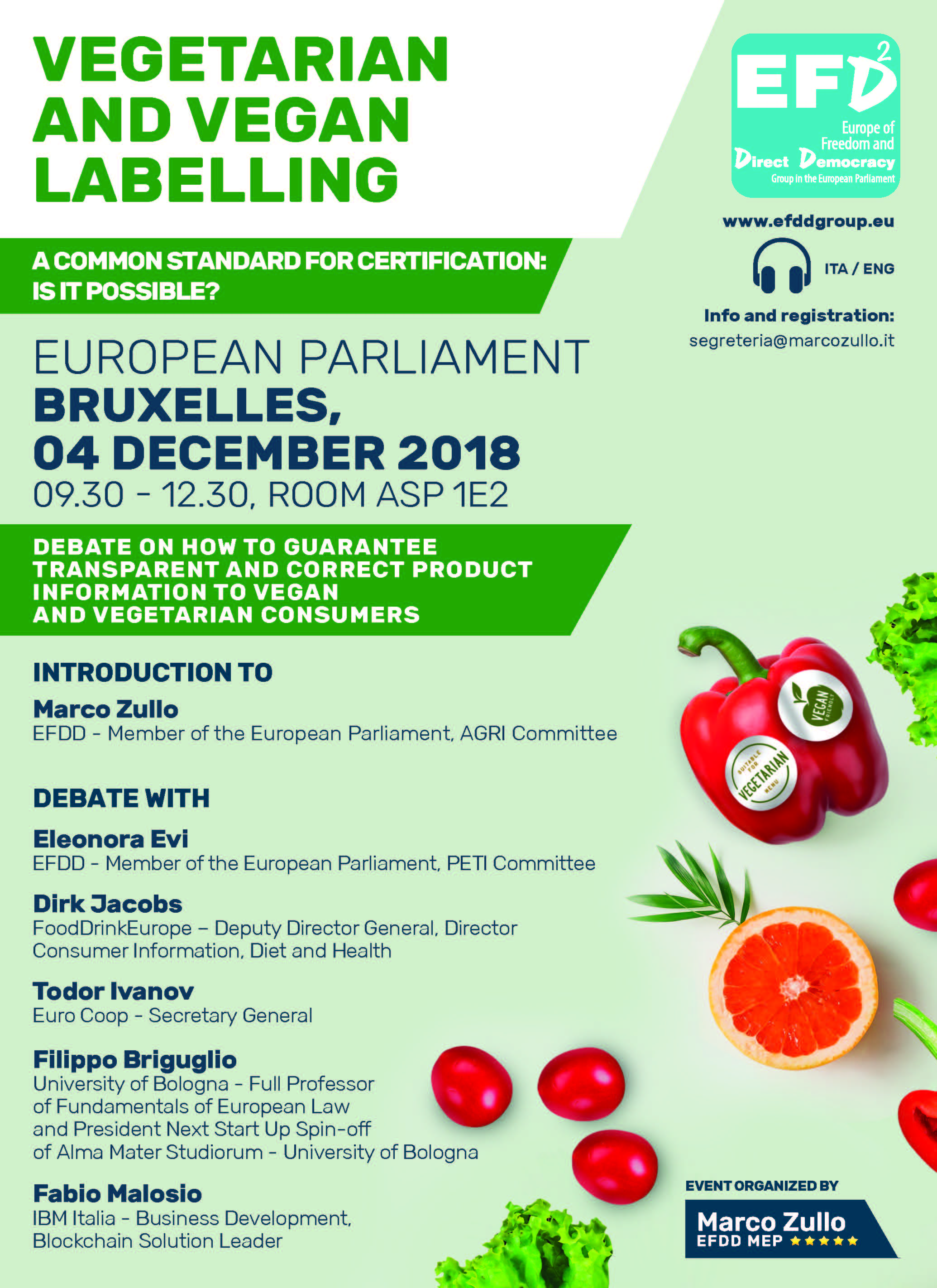 4 DICEMBRE 2018 - VEGAN AND VEGETARIAN LABELLIG - CONGRESSO AL PARLAMENTO EUROPEO