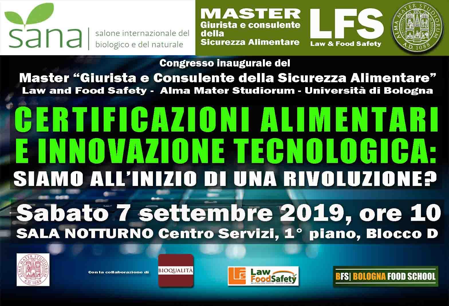 SANA 2019 - 7 SETTEMBRE 2019 - CERTIFICAZIONI ALIMENTARI  E INNOVAZIONE TECNOLOGICA: SIAMO ALL'INIZIO DI UNA RIVOLUZIONE?