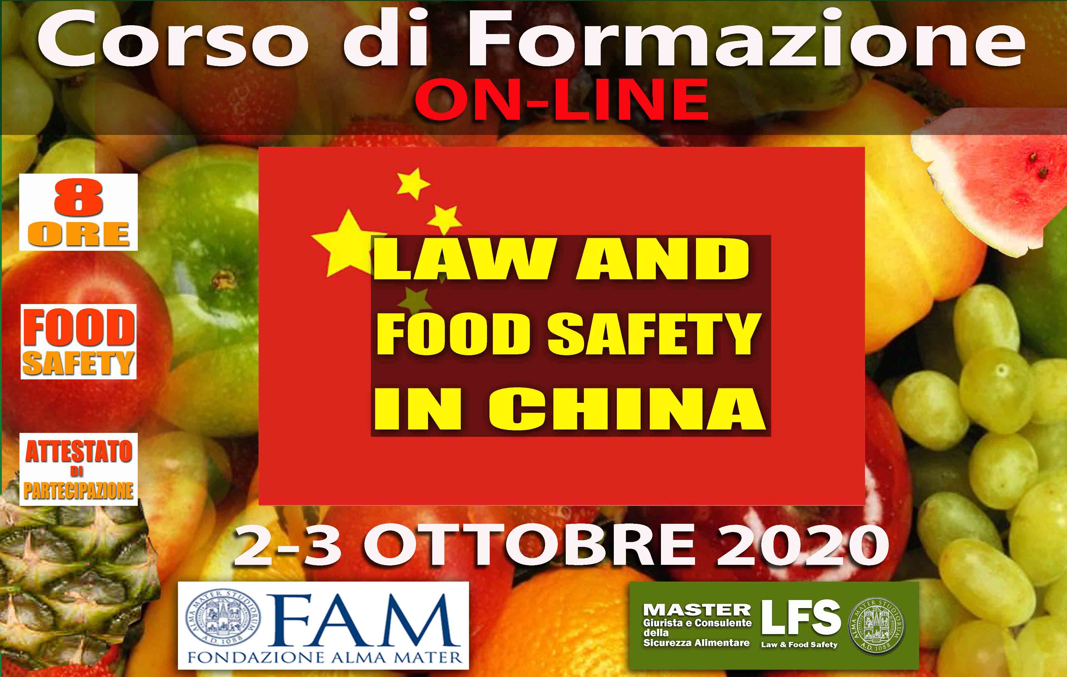 CORSO DI FORMAZIONE LAW AND FOOD SAFETY IN CHINA - 2-3 OTTOBRE 2020