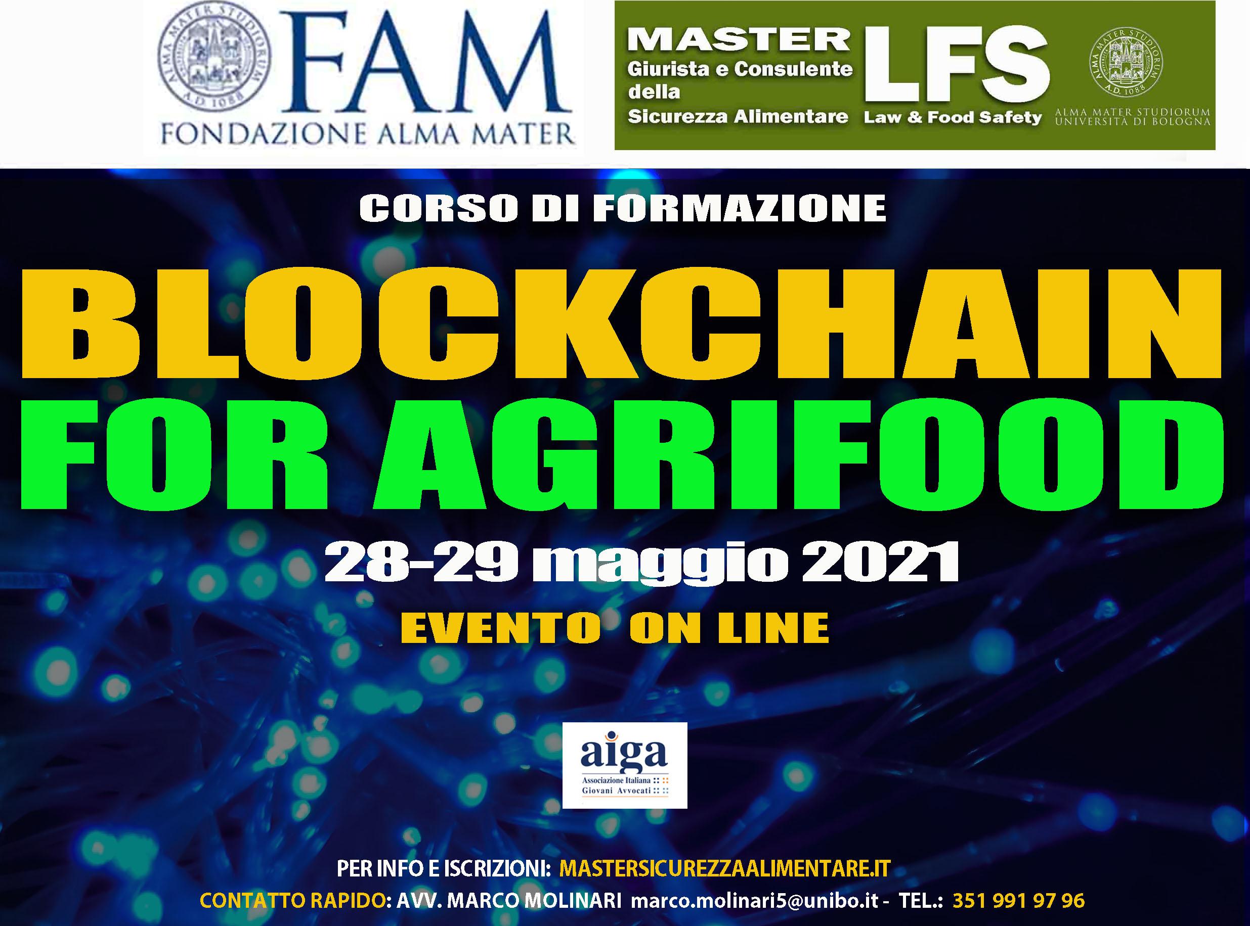 III EDIZIONE DEL CORSO DI FORMAZIONE BLOCKCHAIN FOR AGRIFOOD – 28-29 MAGGIO 2021