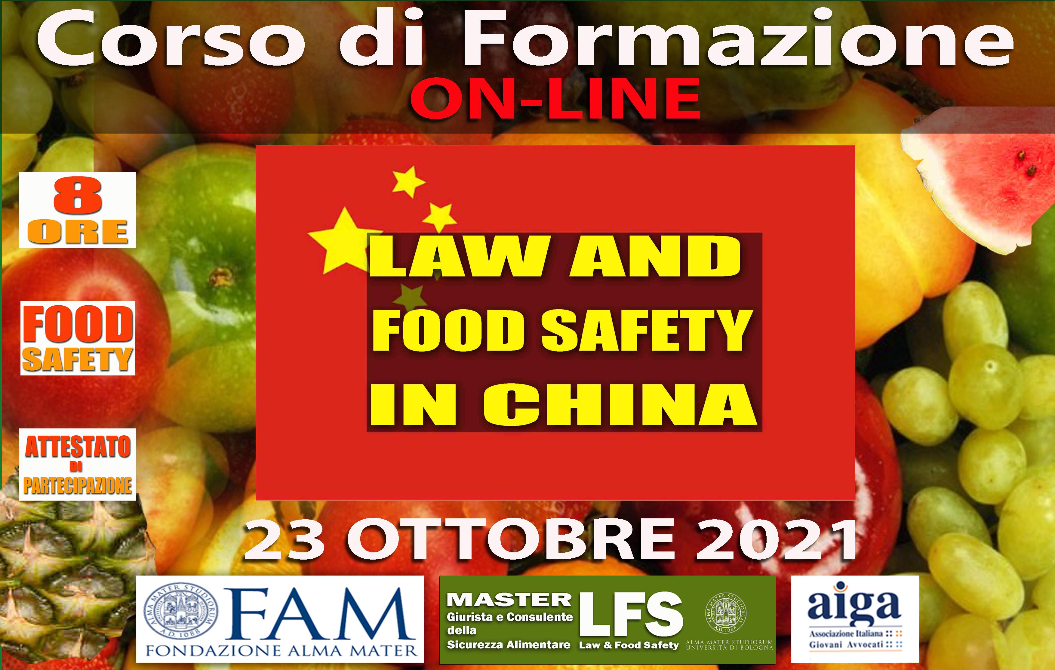 CORSO DI FORMAZIONE LAW AND FOOD SAFETY IN CHINA 23 OTTOBRE 2021