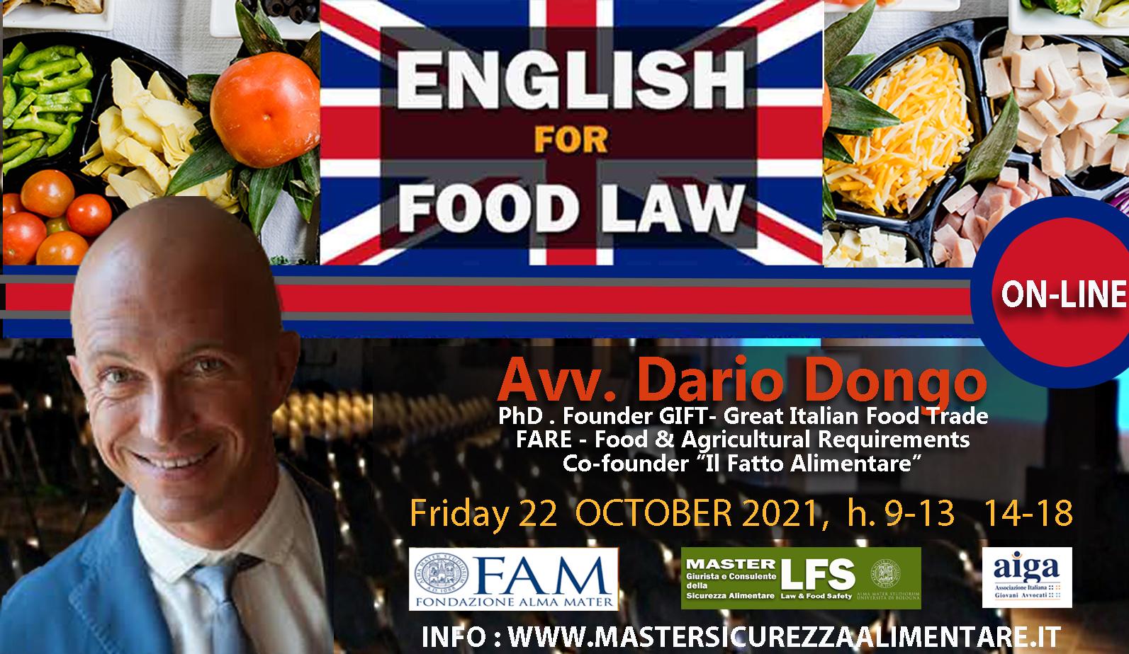 CORSO DI FORMAZIONE ENGLISH FOR FOOD LAW - 22 OTTOBRE 2021