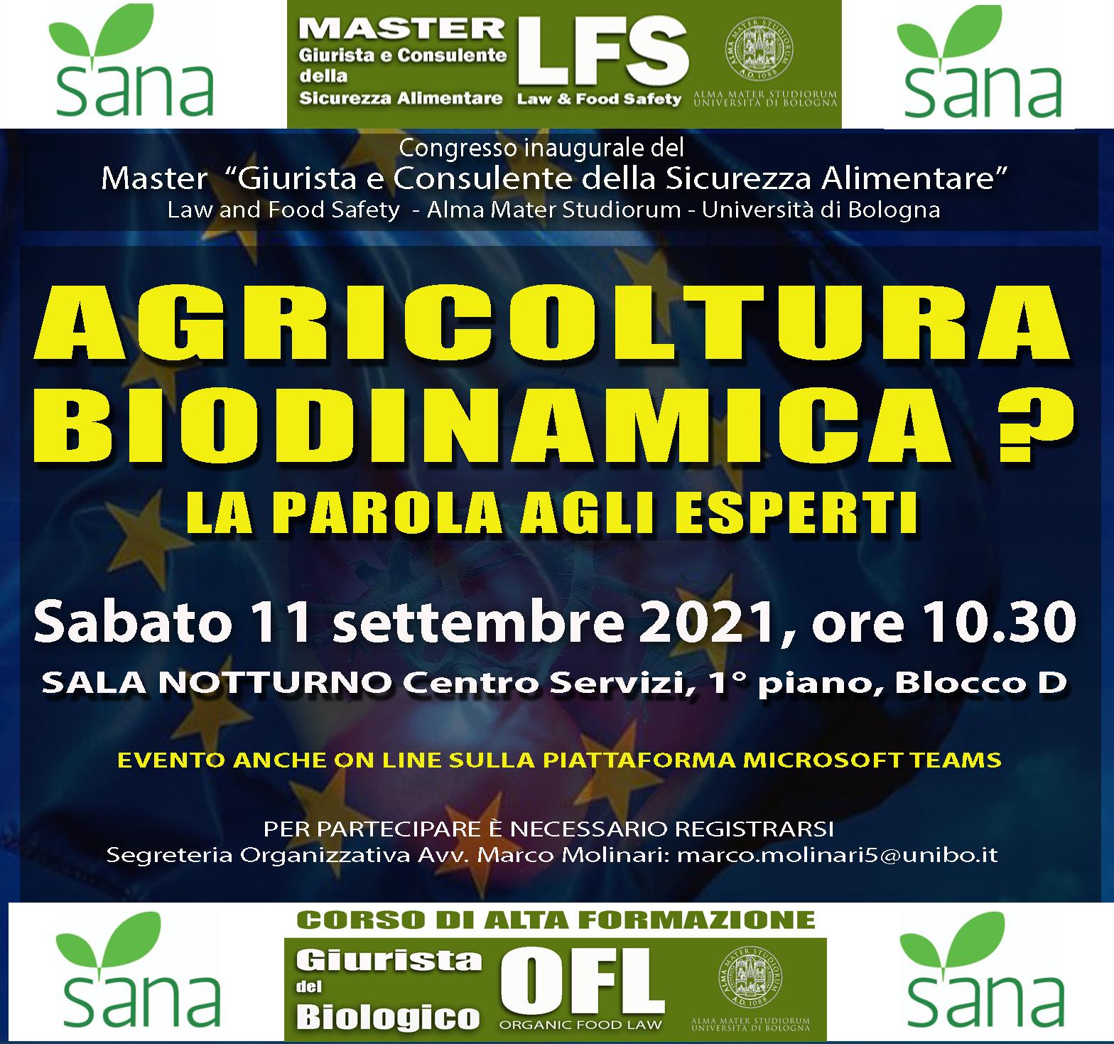 CONGRESSO SANA 2021 – AGRICOLTURA BIODINAMICA?  LA PAROLA AGLI ESPERTI – 11 SETTEMBRE 2021 – ORE 10.30